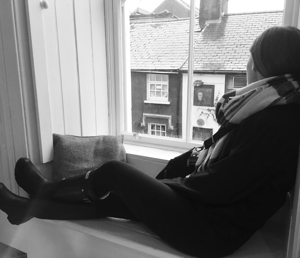 Photo taken by Sky in Galway, Ireland sitting in a coffee/art shop before embarking on the day