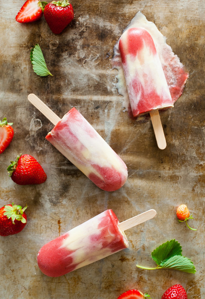 Roasted Strawberry Rhubarb Custard Popsicles via The Kitchen McCabe