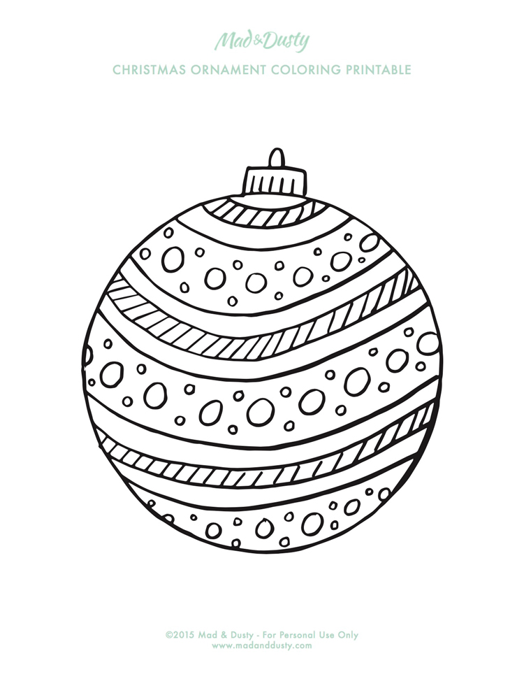 Christmas Ornament Coloring Pages — Mad & Dusty