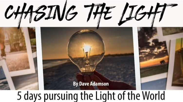"Photographers often describe what they do as ""chasing the light,"" because light makes photography possible. As followers of Jesus, we are all chasing the Light of the World so we can become more like him. Taken from his new book ""Chasing the Light,"" join photographer and pastor Dave Adamson as he helps you walk closer with Jesus. Each day includes a helpful image that can be shared on social media."