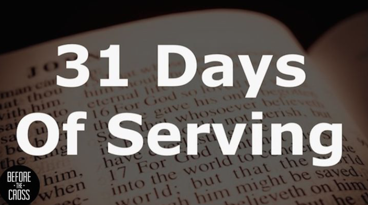 As the Church, we are called to share the Gospel as we make disciples and serve one another. I would like to encourage you to spend the next 31 days serving others. Let this plan guide you day by day along with Scripture to show you different ways you can serve one another. While something like this is for 31 days, don't let that stop you to continue serving afterwards. Consider it a resource to get you started somewhere, and as you read the Word and serve others, let the Holy Spirit will lead you and guide you to do that more and more each day.