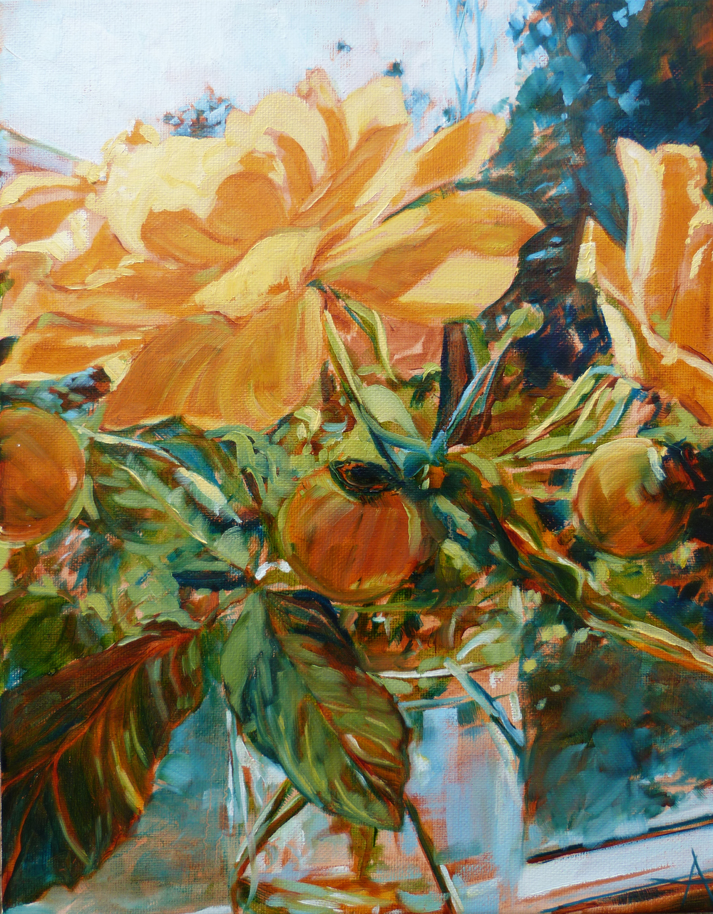"""SOLD, Yellow Roses in the Window, Copyright 2014 Hirschten, Oil on Canvas, 11' x 14"""""""
