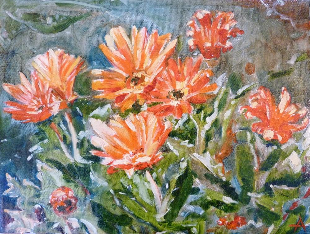 "SOLD, Orange Laughter, Copyright 2014 Hirschten, Oil on Canvas, 9"" x 12"""