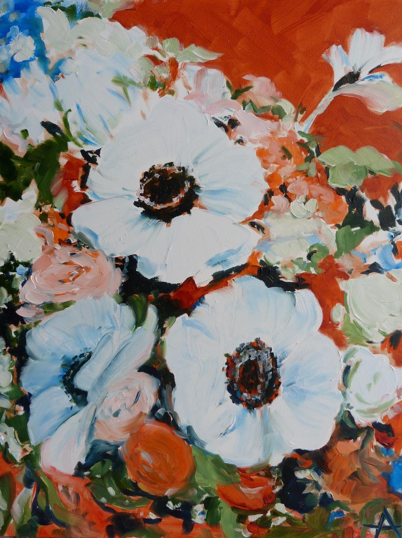 """SOLD, A Handful of Flower, Copyright 2014 Hirschten, Oil on Panel, 9"""" x 12"""""""