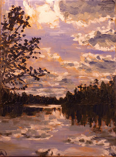 "SOLD, The White River from Broad Ripple Park, Copyright 2013 Hirschten, Oil on Canvas, 11"" x 14"""