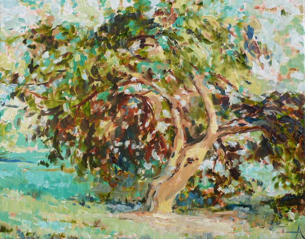 "SOLD, The Climbing Tree, Copyright 2013 Hirschten, Oil on Canvas, 16"" x 20"""