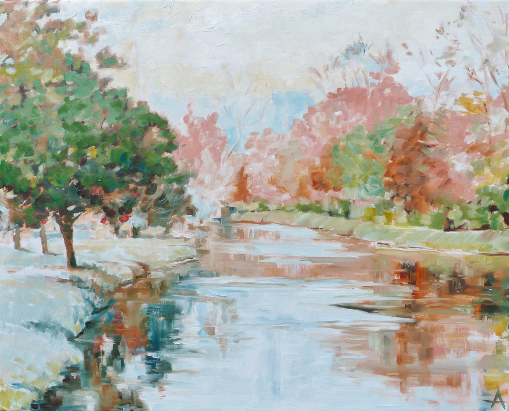 "SOLD, April on the Canal, Copyright 2013 Hirschten, Oil on Canvas, 16"" x 20"""