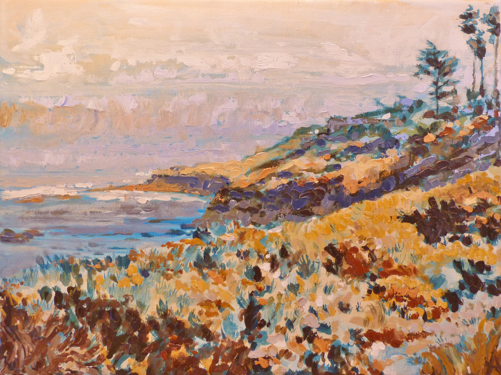 "SOLD, The Cliffs at La Jolla, Copyright 2013 Hirschten, Oil on Canvas, 9"" x 12"""