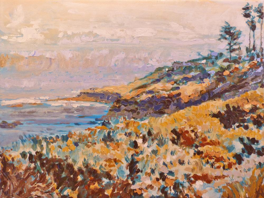 "SOLD, The Cliffs at La Jolla, Copyright 2013 Hirschten, Oil on Canvas, 9"" x 12"""