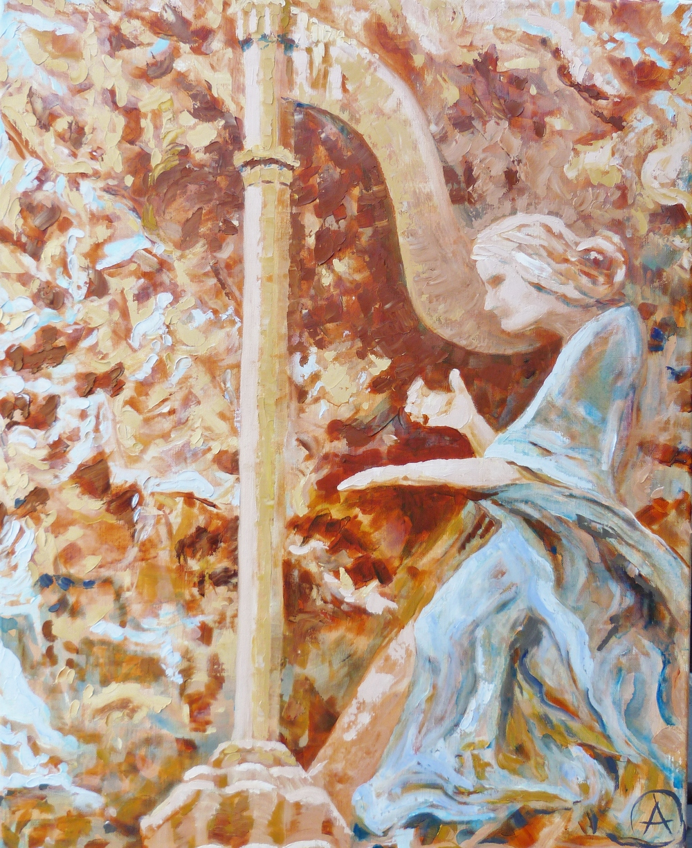 "SOLD, The Harpist, Copyright 2013 Hirschten, Oil on Canvas, 16"" x 20""  ,"