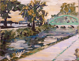 "SOLD, The Canal in Broad Ripple, Copyright 2012 Hirschten, Oil on Canvas, 8"" x 10"""