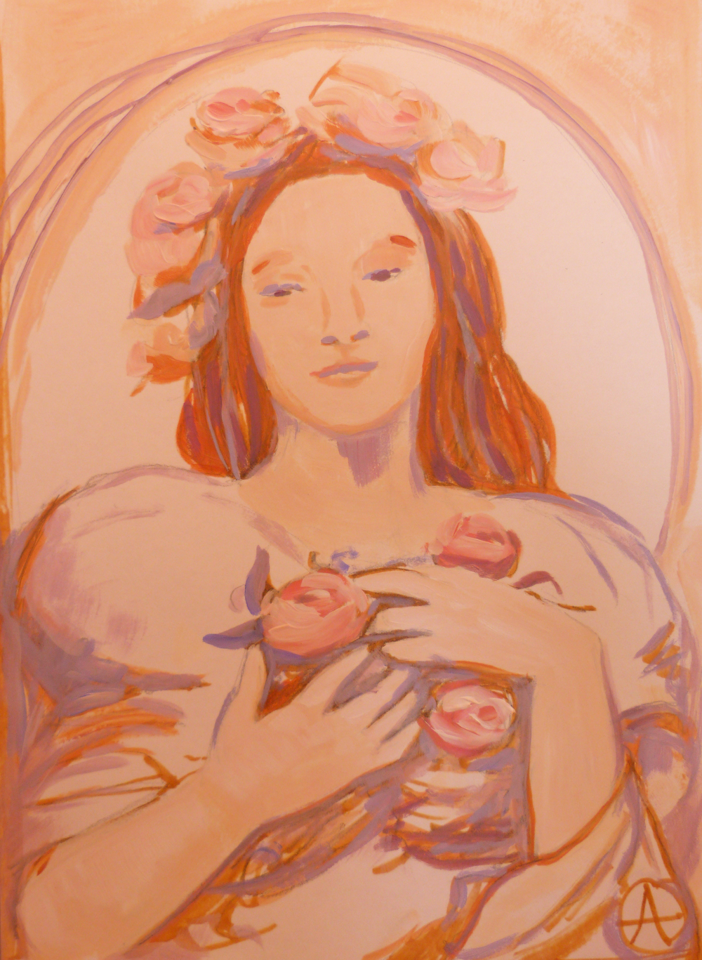 """SOLD, A Bounty of Roses, Copyright 2012 Hirschten, Acrylic on Paper, 8"""" x 12"""