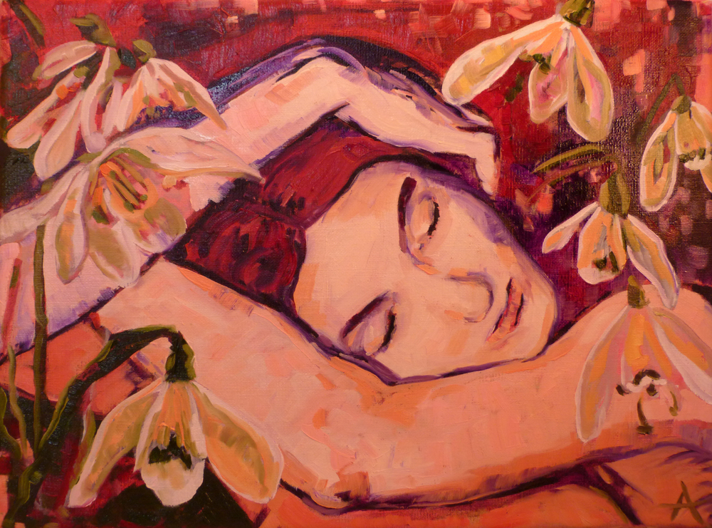 "SOLD, Dreaming of Spring, Copyright 2012 Hirschten, Oil on Canvas, 9"" x 12"""