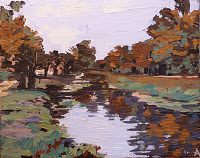 "SOLD, Autumn on the Canal with Palette Knife, Copyright 2012 Hirschten, Acrylic on Canvas, 8"" x 10"""