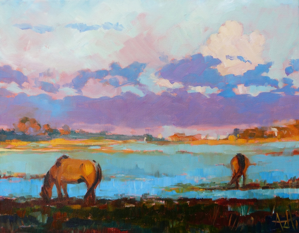 "SOLD, Horses on Carrot Island, Copyright 2014 Hirschten, Oil on Canvas, 11"" x 14"""