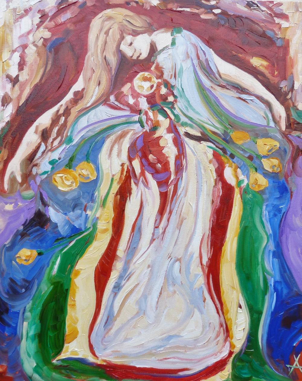 "SOLD, The Goddess Brigid, Copyright 2012 Hirschten, Oil on Canvas, 16"" x 20"""