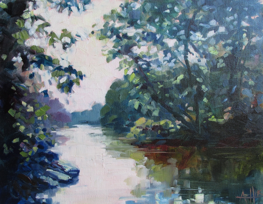 "SOLD ""White River Shadows"" Copyright 2014 Hirschten, Oil on Canvas 11"" x 14"""