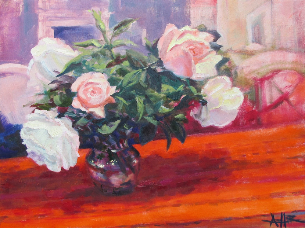 "SOLD, Rose's Roses, Copyright 2015 Hirschten, Oil on Canvas, 16"" x 20"""