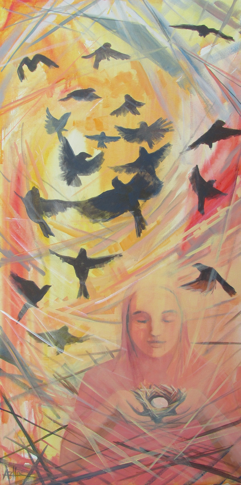 "SOLD, The Birds of Syria, Copyright 2015 Hirschten, Acrylic on Canvas 18"" x 36"""