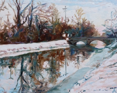 "SOLD, Winter Morning on the Canal, Copyright 2014 Hirschten, Oil on Canvas, 16"" x 20"""