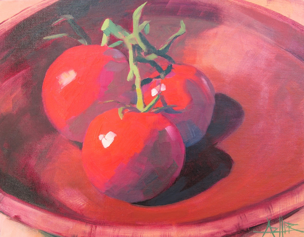 "SOLD, Three Tomatoes, Copyright 2015 Hirschten, Oil on Canvas 11"" x 14"""