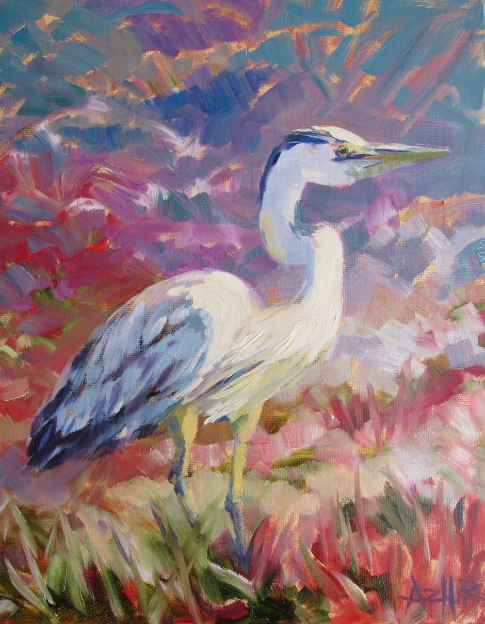 "SOLD, The Crane, Copyright 2016 Hirschten, Oil on Canvas 11"" x 14"""