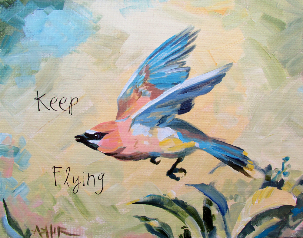 "SOLD, Keep Flying, Copyright 2015 Hirschten, Acrylic on Canvas 11"" x 14"""