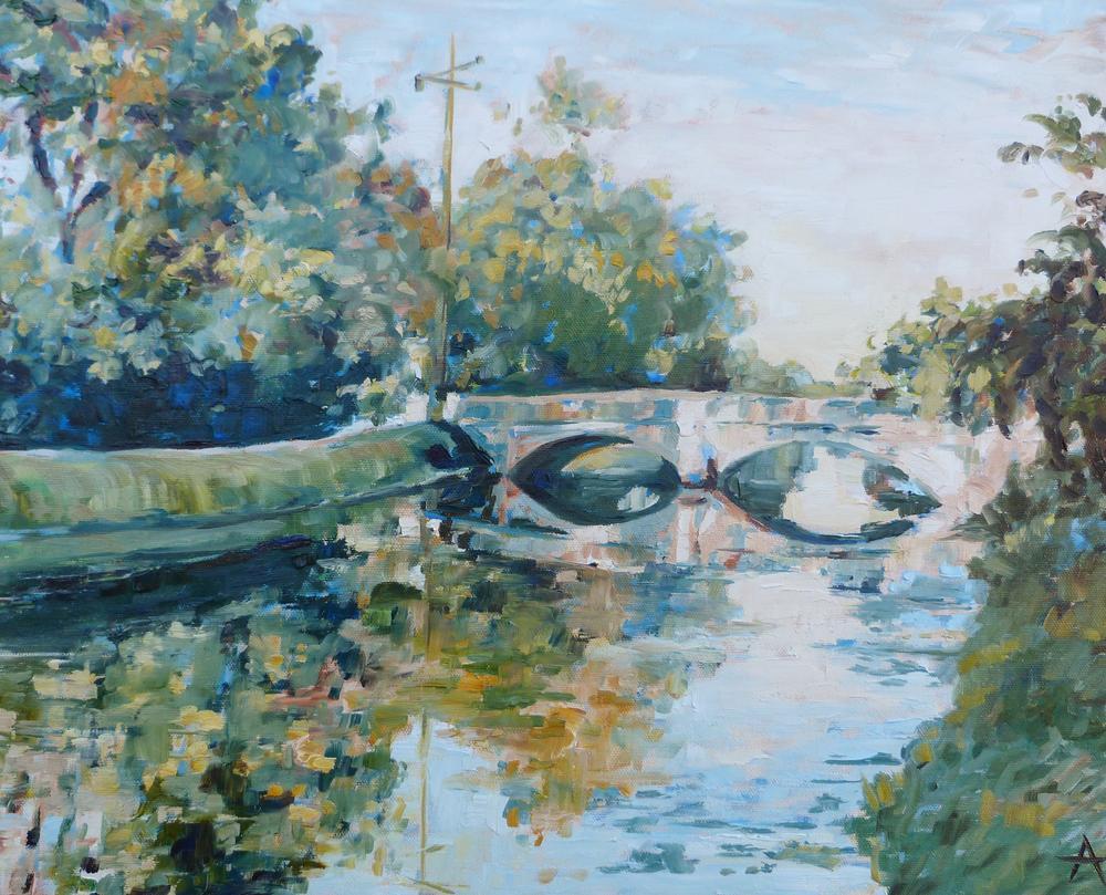 """SOLD, Double Arch Illinois Street Bridge, Copyright 2014 Hirschten, Oil on Canvas 16"""" x 20"""""""
