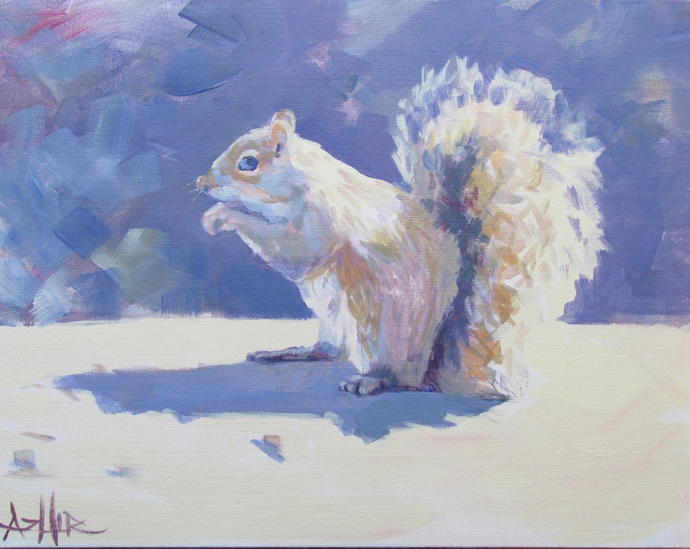 "SOLD, Mr. Squirrel, Copyright 2015 Hirschten, Acrylic on Canvas 11"" x 14"""