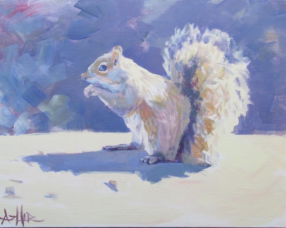 """SOLD, Mr. Squirrel, Copyright 2015 Hirschten, Acrylic on Canvas 11"""" x 14"""""""