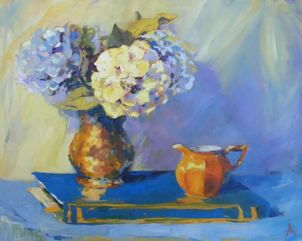 """SOLD Hydrangeas, Copyright 2014 Hirschten, Oil on Canvas, 16"""" x 20"""""""