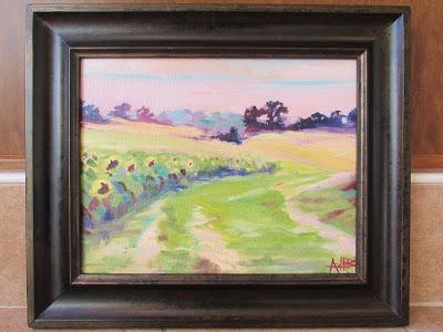 """SOLD, Sunflower Fields In Converse, IN, Copyright 2015 Hirschten, Oil on Canvas, 11"""" x 14"""""""