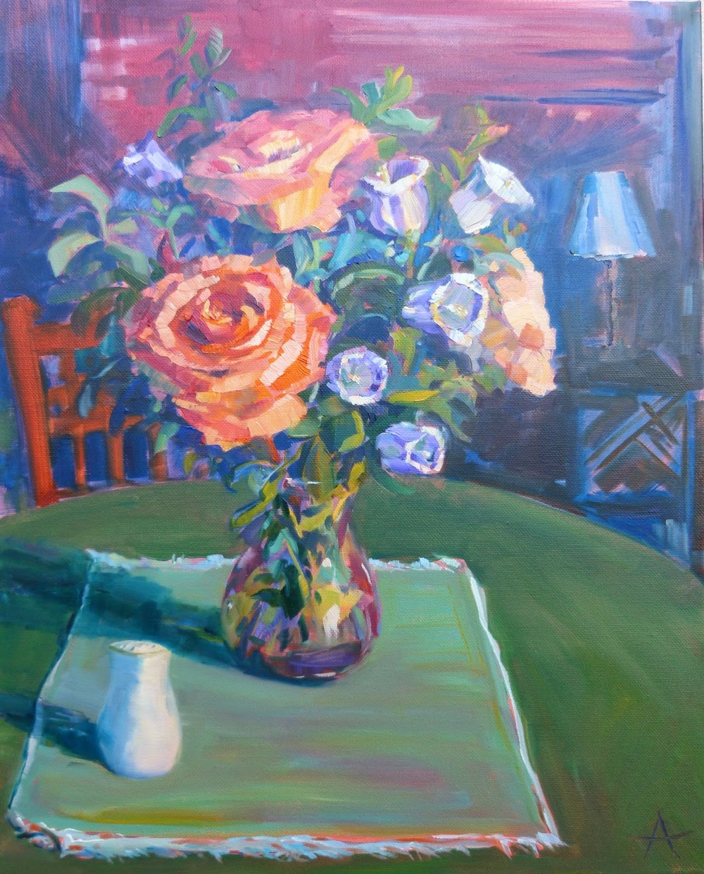 """SOLD, Coral Roses and Bellflowers, Copyright 2014 Hirschten, Oil on Canvas, 16"""" x 20"""""""