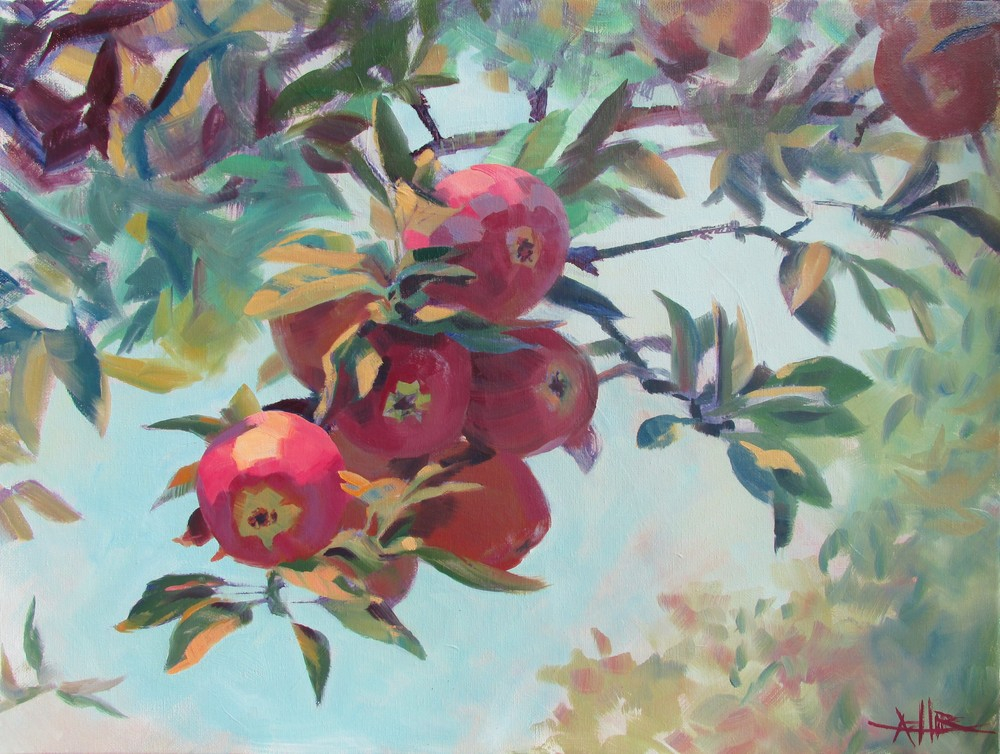 "SOLD, Apples on the Tree, Copyright 2015 Hirschten, Oil on Canvas, 18"" x 24"""