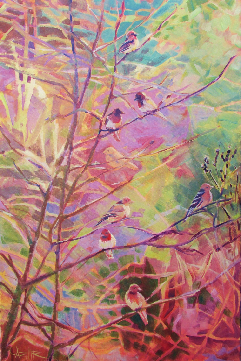"SOLD, Birds in the Thicket, Copyright 2016 Hirschten, Acrylic on Canvas, 24"" x 36"""