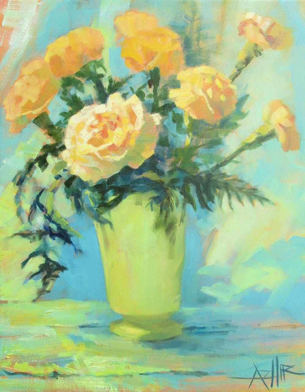"SOLD, Carnations, Copyright 2015 Hirschten, Oil on Canvas, 16"" x 20"""