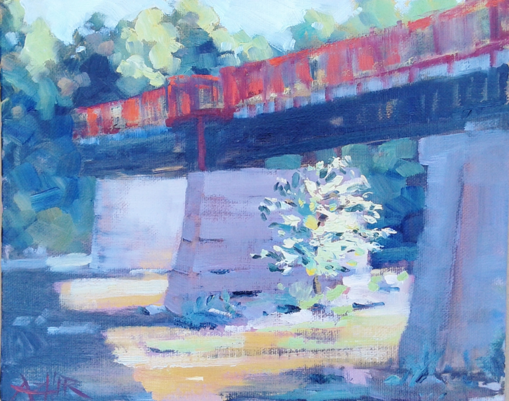 "SOLD, The Monon Bridge in Broad Ripple, Copyright 2016 Hirschten, Oil on Canvas, 8"" x 10"""