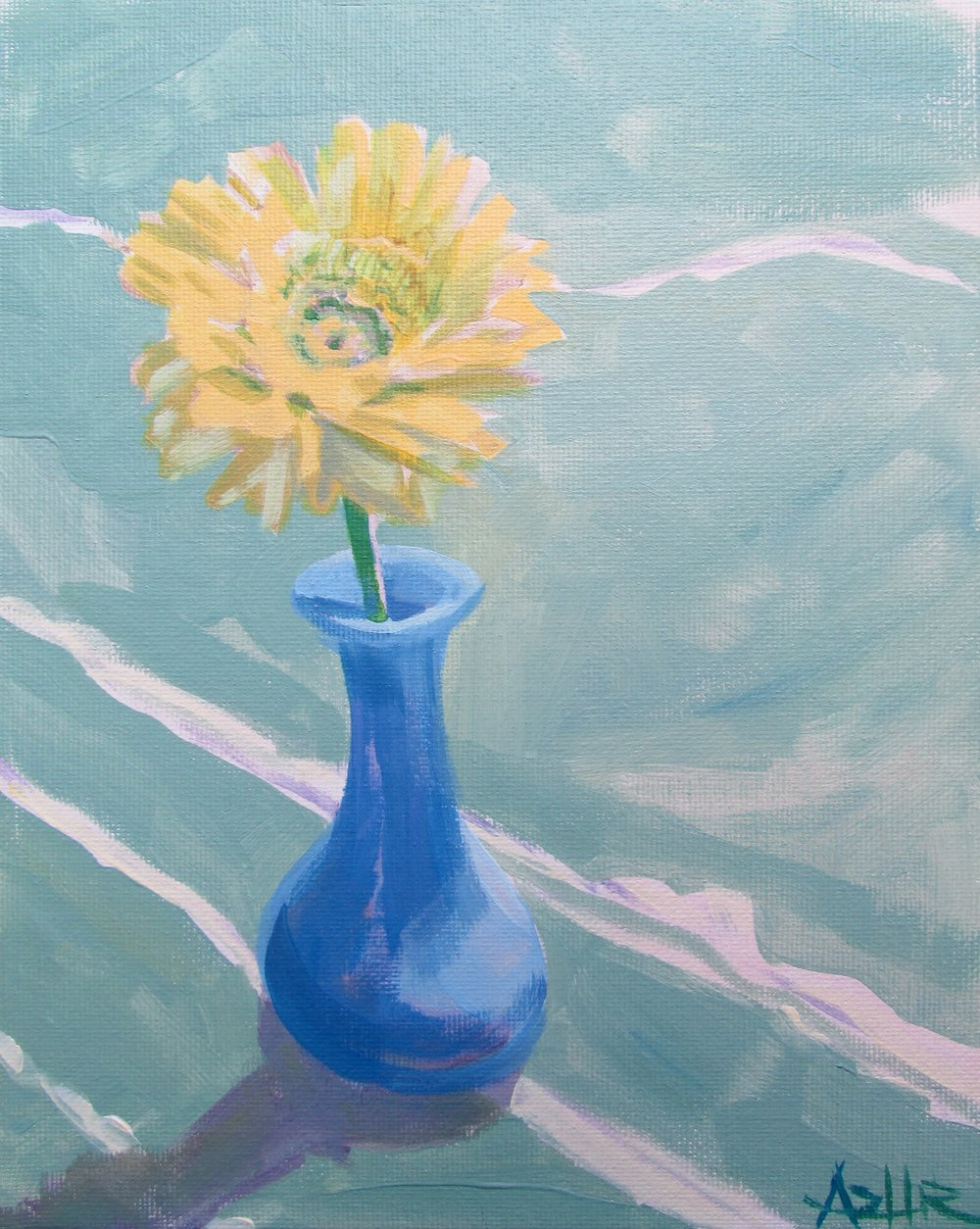 "SOLD, Sunshine in a Bottle, Copyright 2016 Hirschten, Oil on Canvas, 8"" x 10"""