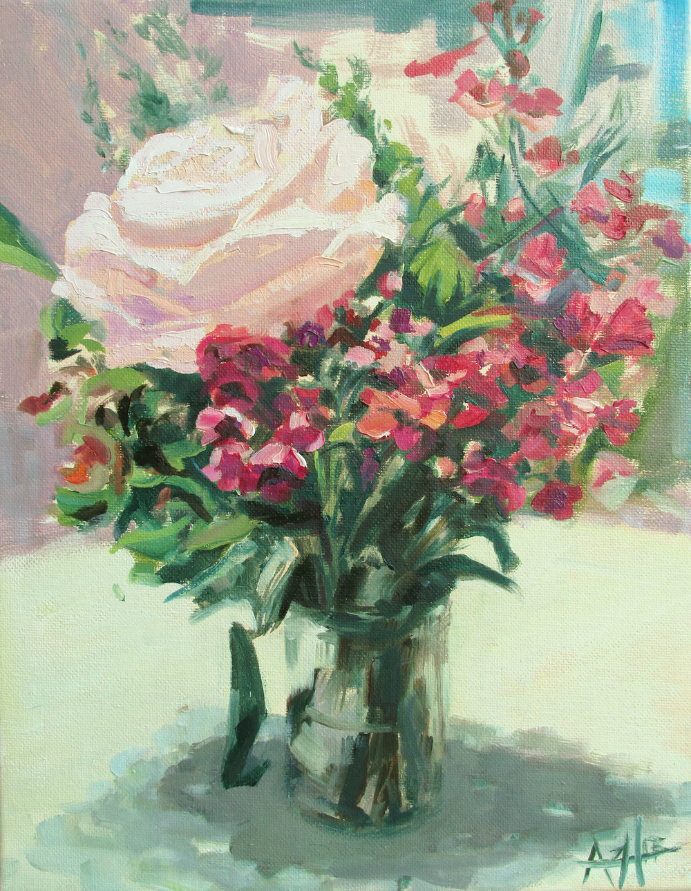 "SOLD, Rose in a London Cafe, Copyright 2014 Hirschten, Oil on Canvas 11"" x 14"""