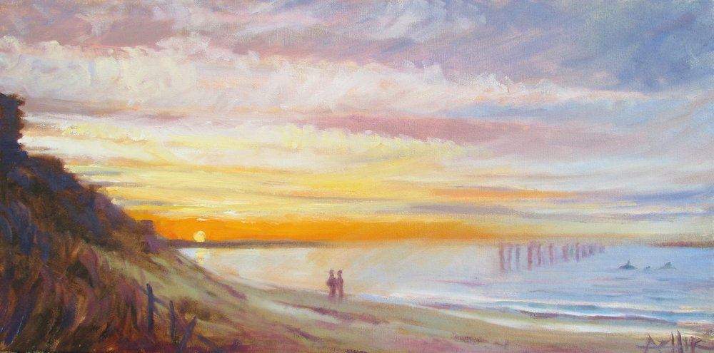 "SOLD, Memories of Virginia Beach, Copyright 2016, Oil on Canvas, 12"" x 24"""