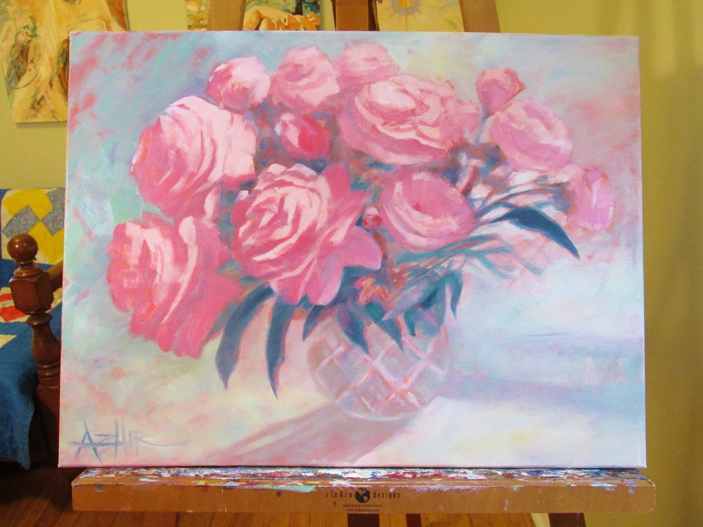 "SOLD, Peonies Commission, Copyright 2016, Oil on Canvas, 18"" x 24"""