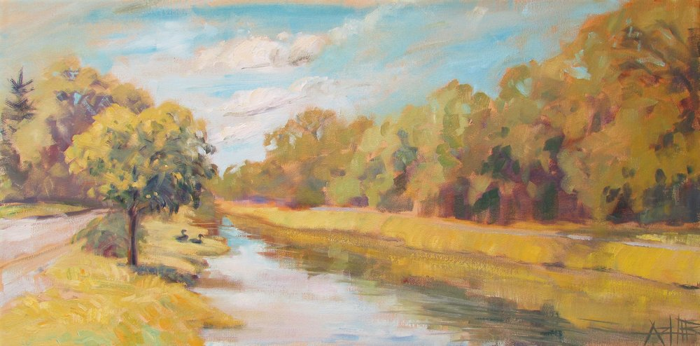 "SOLD, A Summer's Day on the Canal, Copyright 2017, Oil on Canvas, 12"" x 24"""