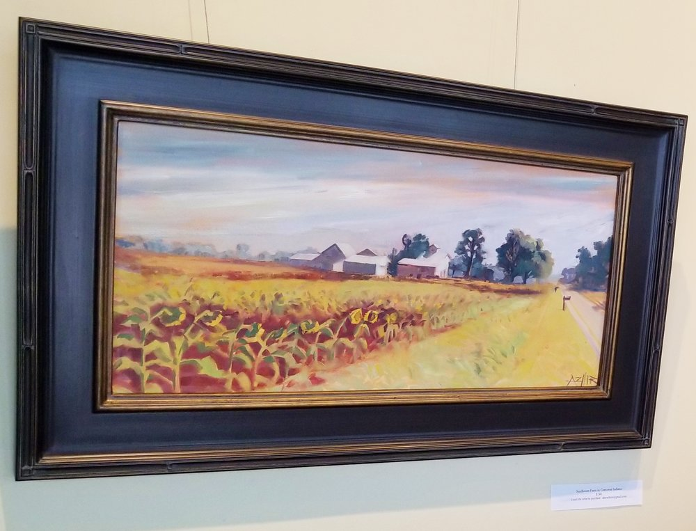 "SOLD, Sunflower Field in Converse Indiana, Copyright 2017, Oil on Canvas, 12"" x 24"""
