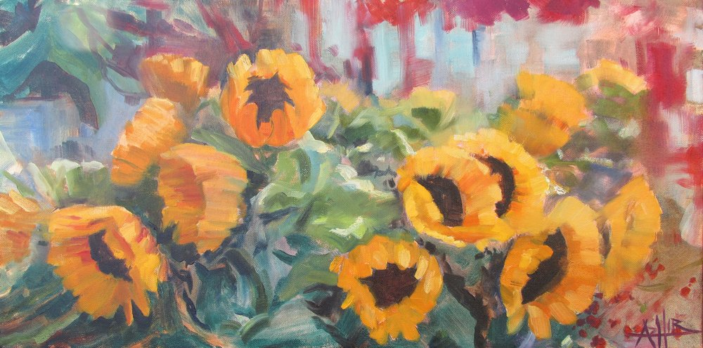"SOLD, Sunflowers in Berlin, Copyright 2016, Oil on Canvas, 12"" x 24"""