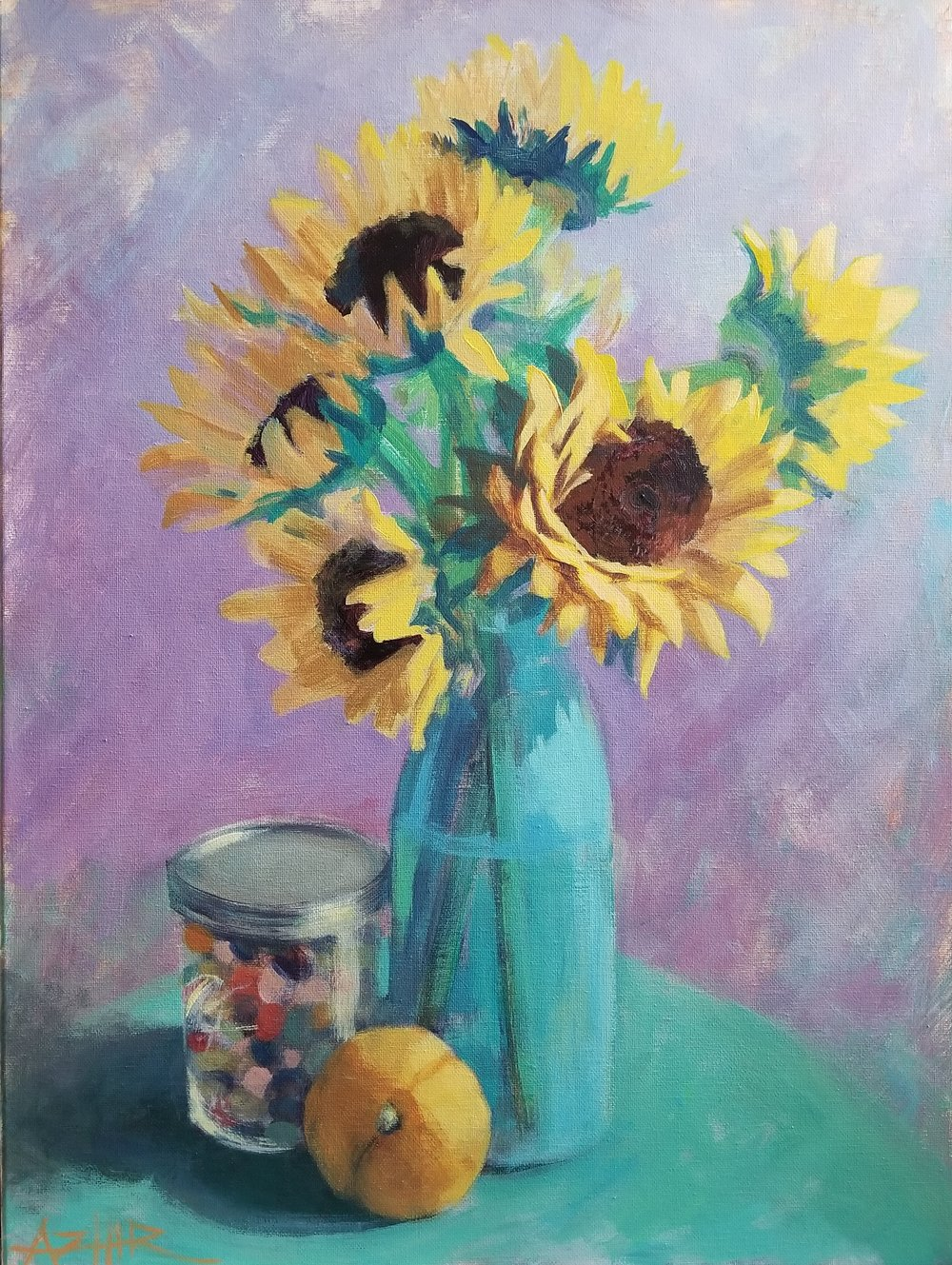 "SOLD, Jellybeans and Sunflowers, Copyright 2018, Oil on Canvas, 18"" x 24"""
