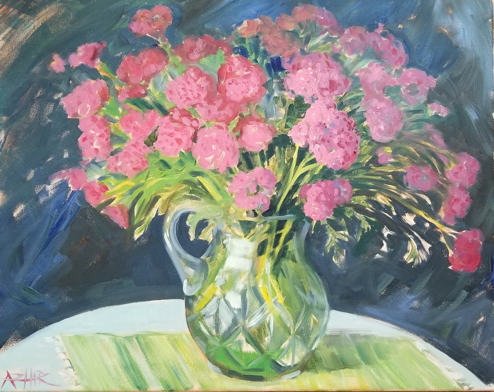 "SOLD, Yarrow Flowers in the Cut Glass Vase, Copyright 2017, Oil on Canvas, 16"" x 20"""