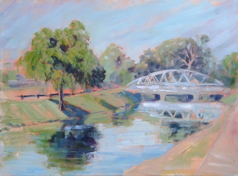 "SOLD, The Teal Bridge in Broad Ripple, Copyright 2017, Oil on Canvas, 11"" x 14"""