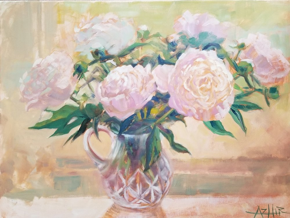 "SOLD, Peonies from My Garden, Copyright 2017, Oil on Canvas, 18"" x 24"""