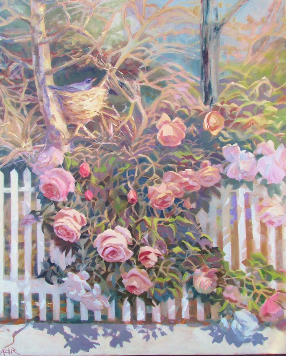 SOLD, Along the Picket Fence, Oil on Canvas, Copyright 2016 Hirschten