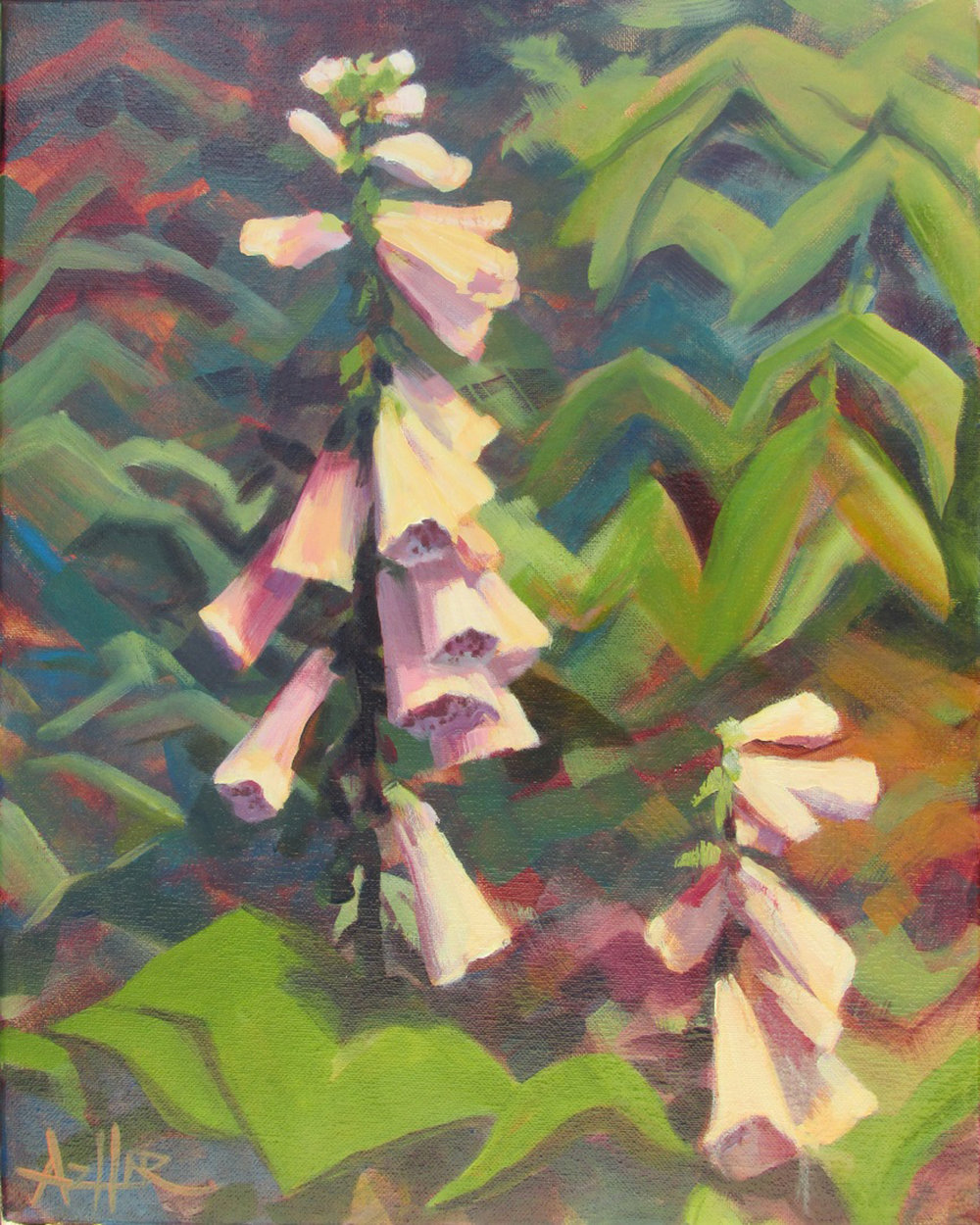 SOLD, Foxgloves, Oil on Canvas, Copyright 2017 Hirschten